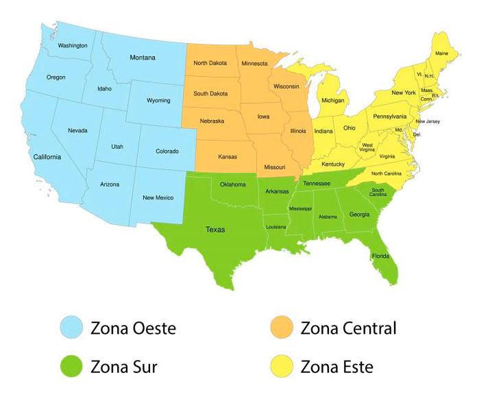 Mapa de zonas de EEUU