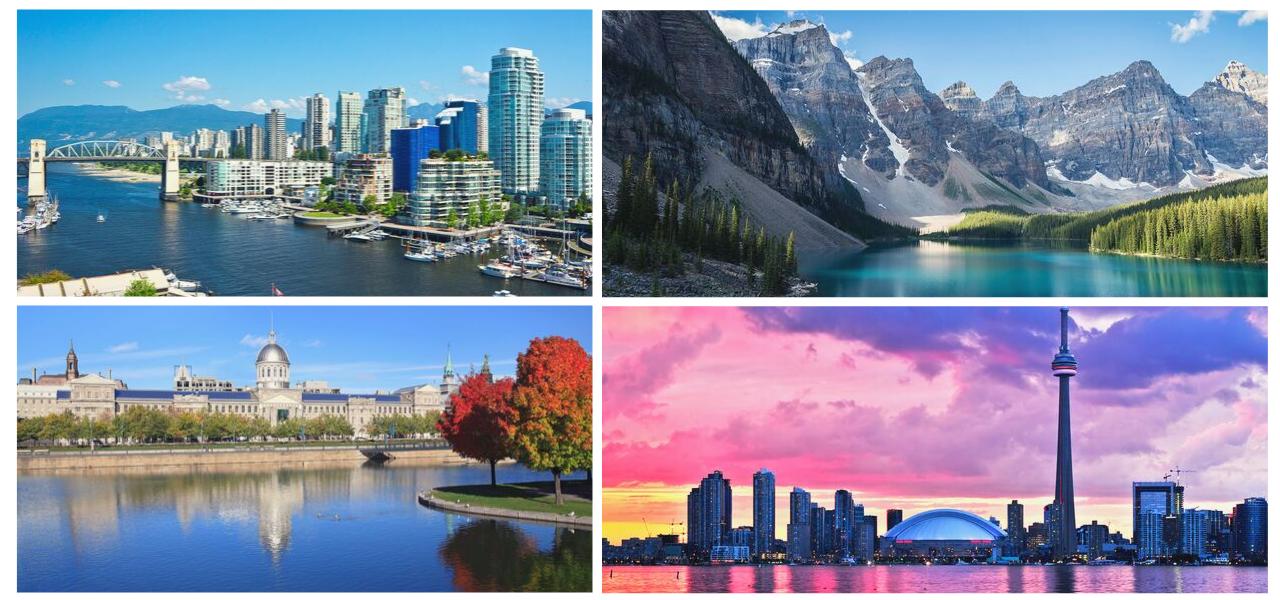 fotografía de las 4 provincias más importantes de Canadá: British Columbia, Alberta, Ontario y Quebec