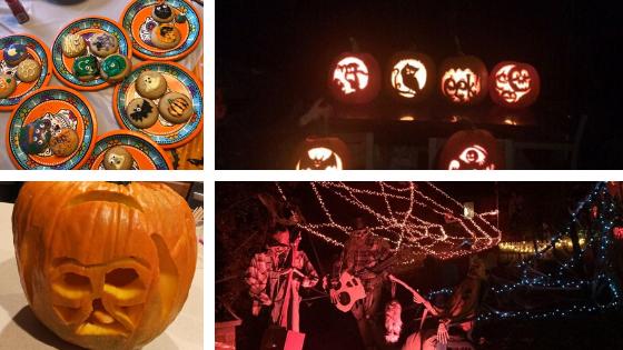 decoración y dulces con motivo de Halloween