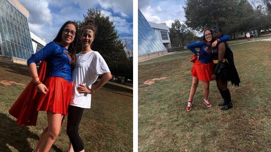 dos estudiantes disfrazadas durante la fiesta de Halloween en Estados Unidos