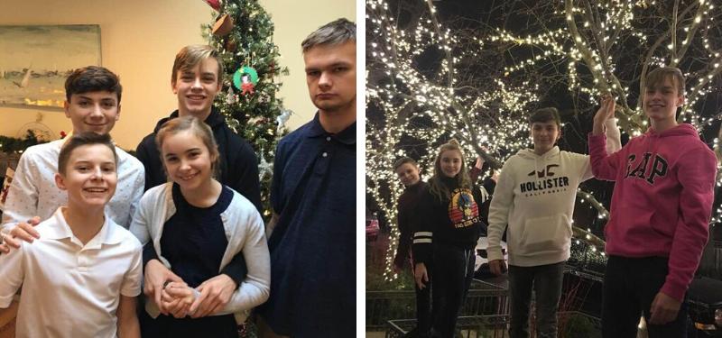 alumno con su host family durante la Navidad en USA