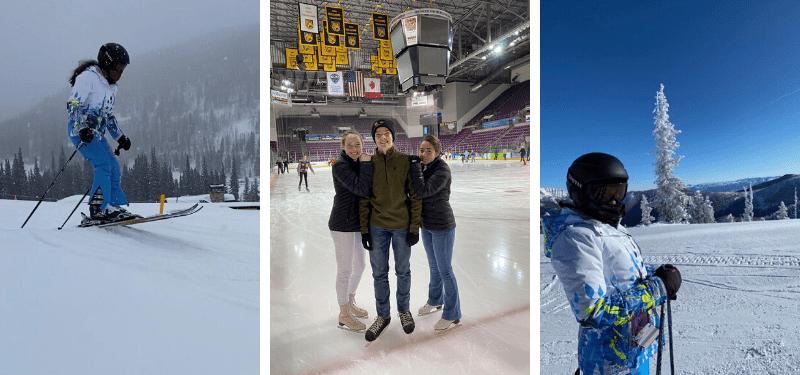 alumnos de año académico en EEUU esquiando durante la Navidad 2019