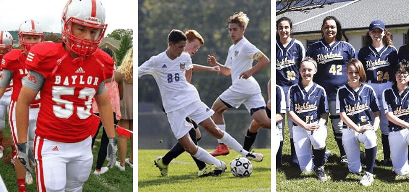 fotos de alumnos participando en los deportes de un high school