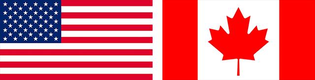 Banderas de USA y Canadá