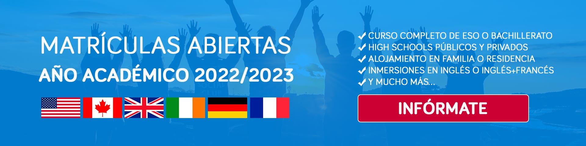 Matrículas abiertas curso 22/23 de Bachillerato y ESO en USA, Canadá y Europa